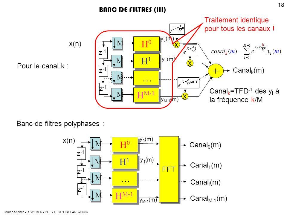 Multicadence - R. WEBER - POLYTECH'ORLEANS -06/07 18 H0H0 H0H0 H1H1 H1H1 … … H M-1 Pour le canal k : Canal k (m) x(n) BANC DE FILTRES (III) M M M M z