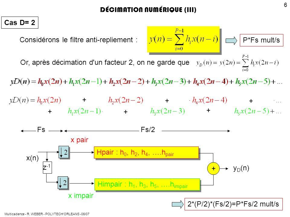Multicadence - R. WEBER - POLYTECH'ORLEANS -06/07 6 + + + + + + DÉCIMATION NUMÉRIQUE (III) Considérons le filtre anti-repliement : Or, après décimatio
