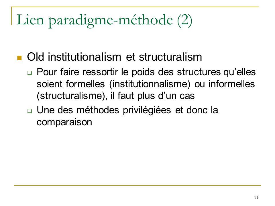 Lien paradigme-méthode (2)  Old institutionalism et structuralism  Pour faire ressortir le poids des structures qu'elles soient formelles (institutionnalisme) ou informelles (structuralisme), il faut plus d'un cas  Une des méthodes privilégiées et donc la comparaison 11