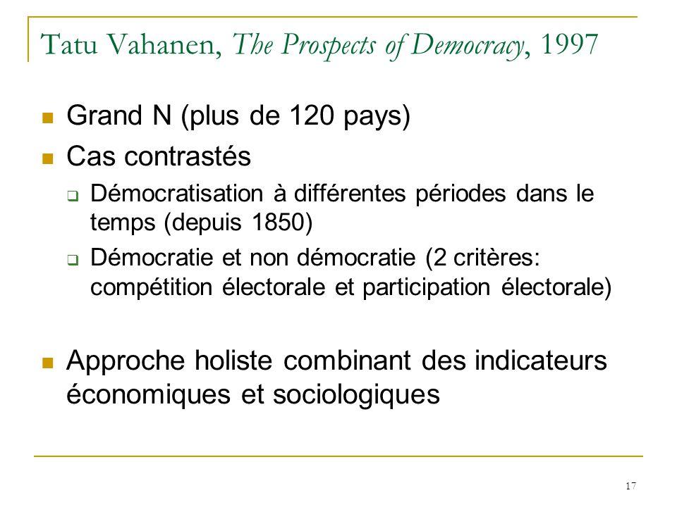 17 Tatu Vahanen, The Prospects of Democracy, 1997  Grand N (plus de 120 pays)  Cas contrastés  Démocratisation à différentes périodes dans le temps (depuis 1850)  Démocratie et non démocratie (2 critères: compétition électorale et participation électorale)  Approche holiste combinant des indicateurs économiques et sociologiques