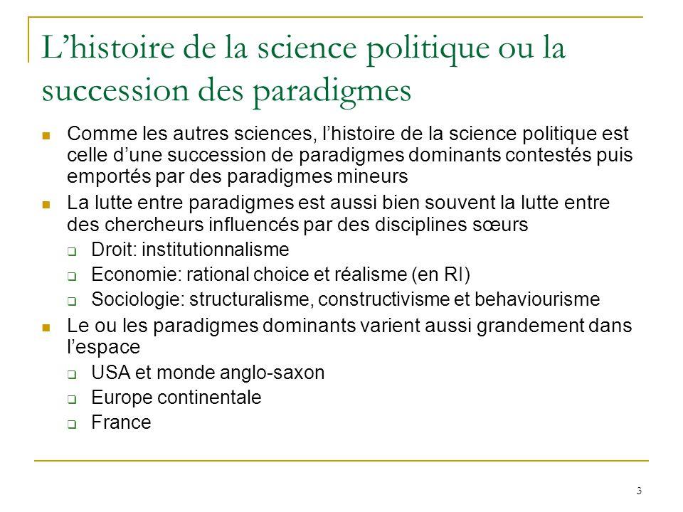 3 L'histoire de la science politique ou la succession des paradigmes  Comme les autres sciences, l'histoire de la science politique est celle d'une s
