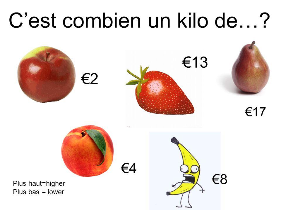 C'est combien un kilo de…? €2 €4 €8 €17 Plus haut=higher Plus bas = lower €13