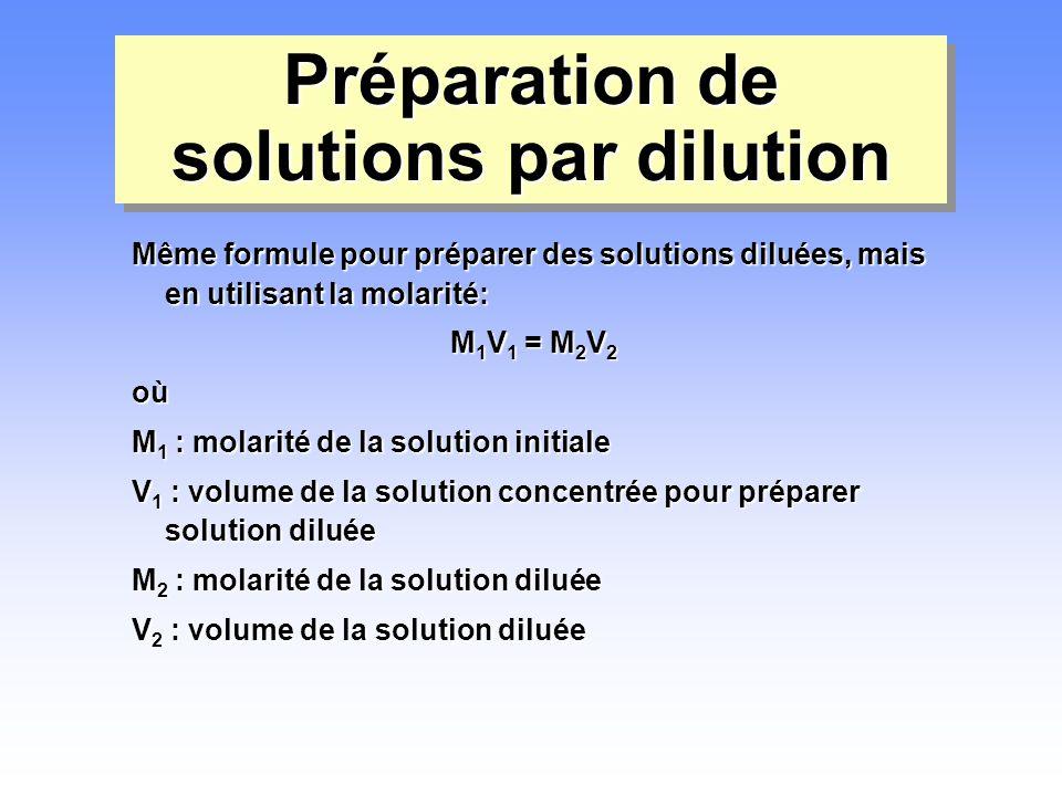 Préparation de solutions par dilution Même formule pour préparer des solutions diluées, mais en utilisant la molarité: M 1 V 1 = M 2 V 2 où M 1 : mola