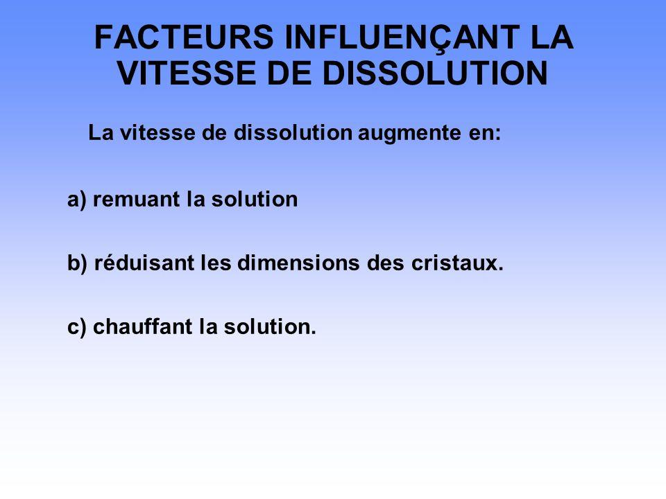 FACTEURS INFLUENÇANT LA VITESSE DE DISSOLUTION La vitesse de dissolution augmente en: a) remuant la solution b) réduisant les dimensions des cristaux.