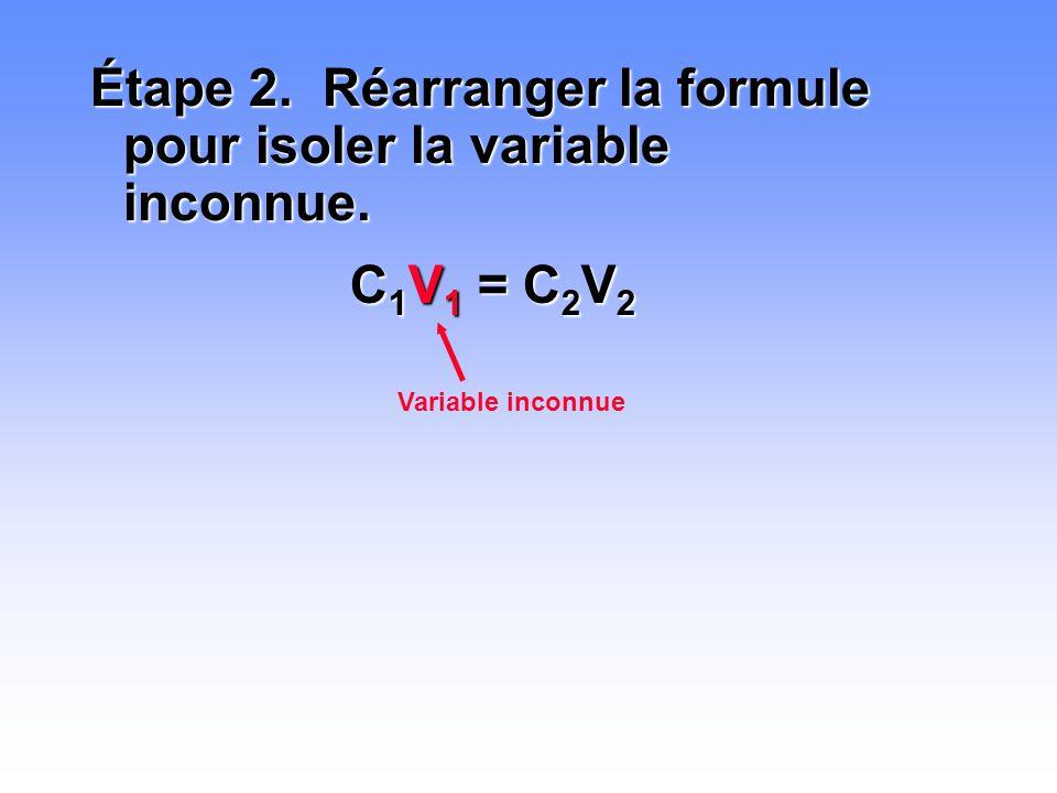 Étape 2. Réarranger la formule pour isoler la variable inconnue. C 1 V 1 = C 2 V 2 Variable inconnue