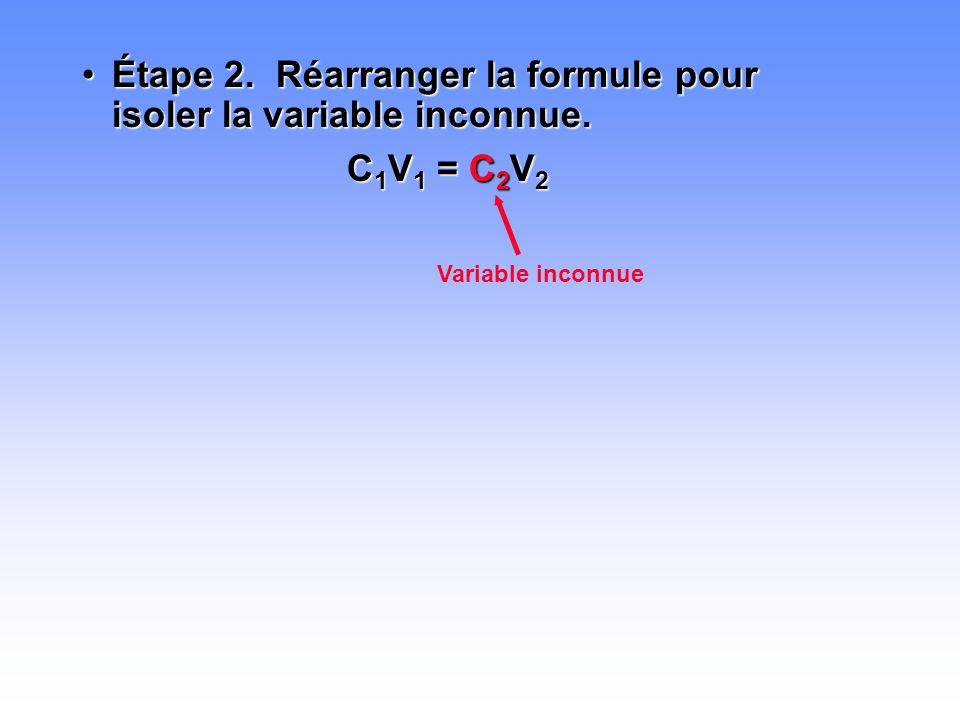 •Étape 2. Réarranger la formule pour isoler la variable inconnue. C 1 V 1 = C 2 V 2 Variable inconnue