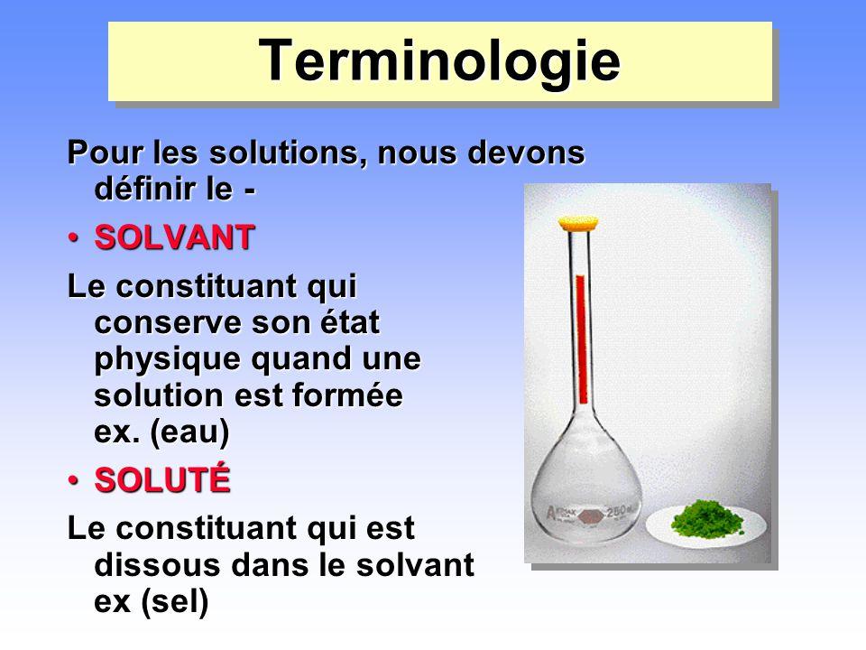 TerminologieTerminologie Pour les solutions, nous devons définir le - •SOLVANT Le constituant qui conserve son état physique quand une solution est fo