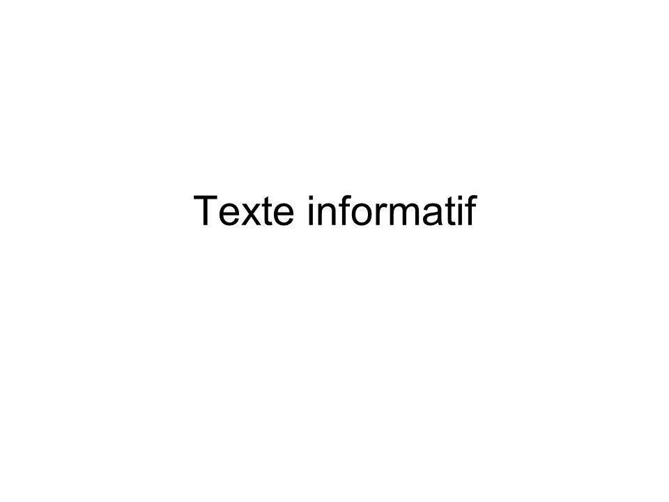 Intention de communication •Lorsque l'on écrit, c'est toujours dans un BUT •En l'occurrence, l'auteur (=…émetteur......) d'un texte dit informatif a pour intention D'INFORMER les lecteurs (=…récepteur…...) sur un sujet précis.