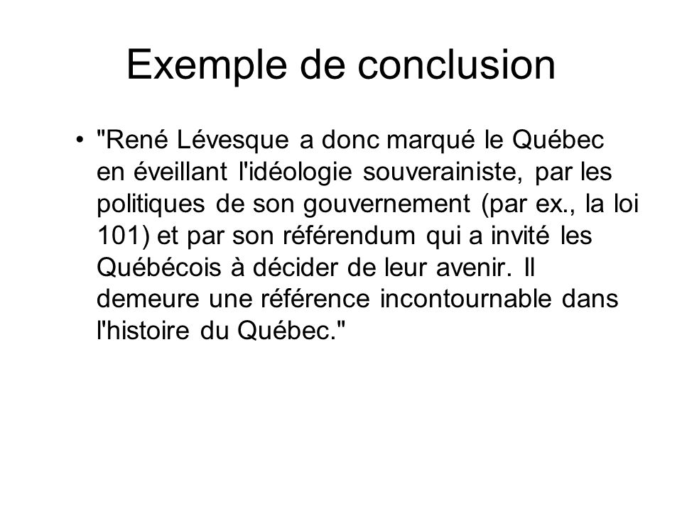 Exemple de conclusion •