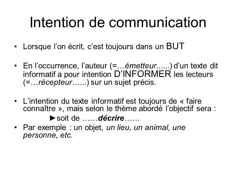 Intention de communication •Lorsque l'on écrit, c'est toujours dans un BUT •En l'occurrence, l'auteur (=…émetteur......) d'un texte dit informatif a p