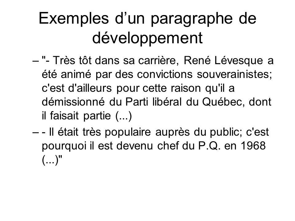 Exemples d'un paragraphe de développement –