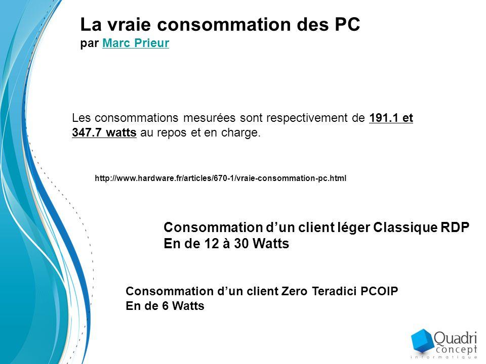 La vraie consommation des PC par Marc PrieurMarc Prieur Les consommations mesurées sont respectivement de 191.1 et 347.7 watts au repos et en charge.
