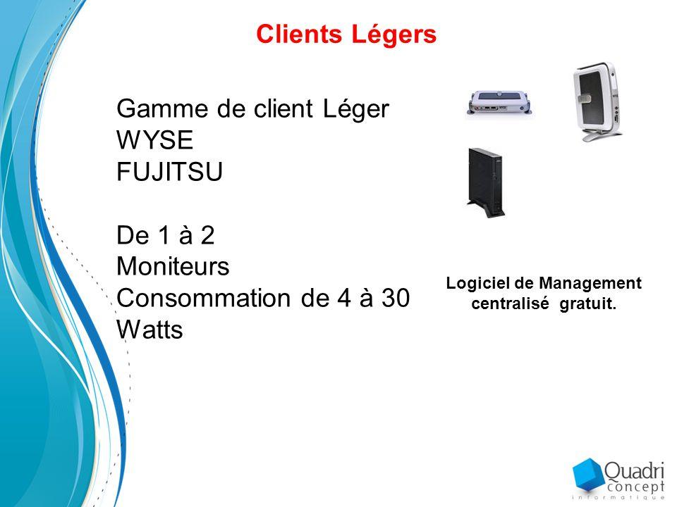 Clients Légers Gamme de client Léger WYSE FUJITSU De 1 à 2 Moniteurs Consommation de 4 à 30 Watts Logiciel de Management centralisé gratuit.