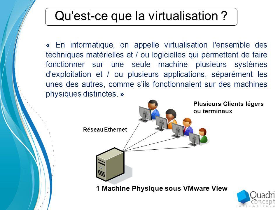« En informatique, on appelle virtualisation l ensemble des techniques matérielles et / ou logicielles qui permettent de faire fonctionner sur une seule machine plusieurs systèmes d exploitation et / ou plusieurs applications, séparément les unes des autres, comme s ils fonctionnaient sur des machines physiques distinctes.