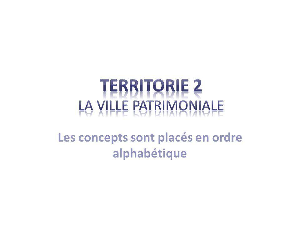 Liste des concepts C= Chrono / JB= journal de bord Aménagement Infrastructures (P : 38) Banlieue OVPM (P : 23) Biens patrimoniaux Patrimoine + quatre types (P : 20, JB : 4-5) CCVQ (P : 48)Site Concentration Restauration (P : 46) Conservation (P : 33)UNESCO (P : 20) Changement Urbanisation ContinuitéVille patrimoniale (P : 20, JB : 4) Densité de population (P : 53)Vestige (P : 55) Étalement urbain