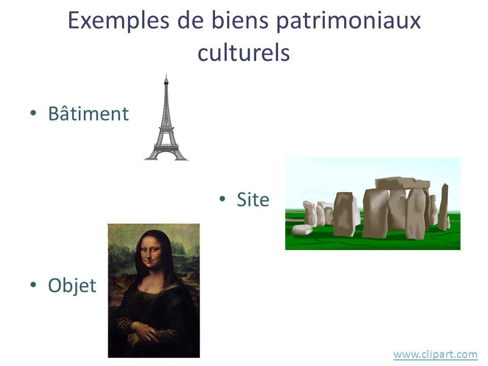 Exemples de biens patrimoniaux culturels • Bâtiment • Site • Objet www.clipart.com