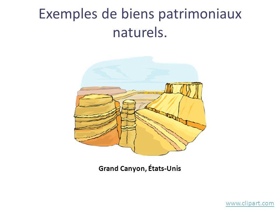 Exemples de biens patrimoniaux naturels. www.clipart.com Grand Canyon, États-Unis