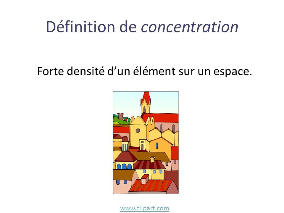 Forte densité d'un élément sur un espace. Définition de concentration www.clipart.com