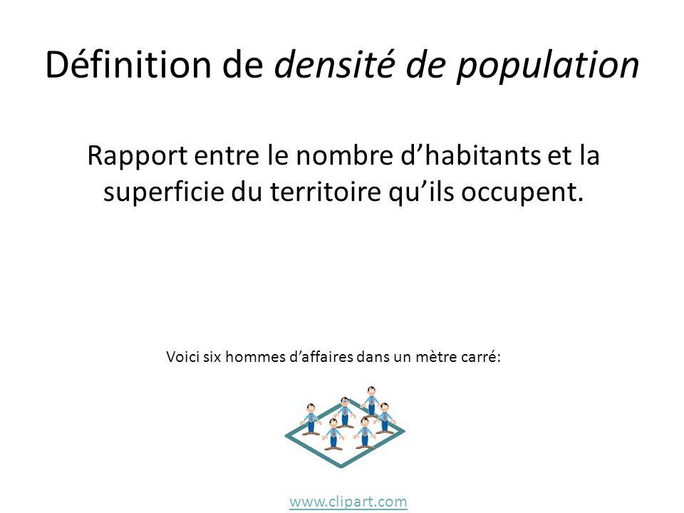 Définition de densité de population Rapport entre le nombre d'habitants et la superficie du territoire qu'ils occupent. www.clipart.com Voici six homm