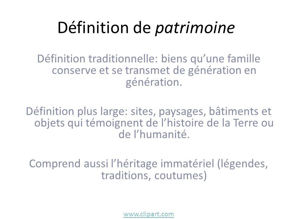 Définition de patrimoine Définition traditionnelle: biens qu'une famille conserve et se transmet de génération en génération. Définition plus large: s