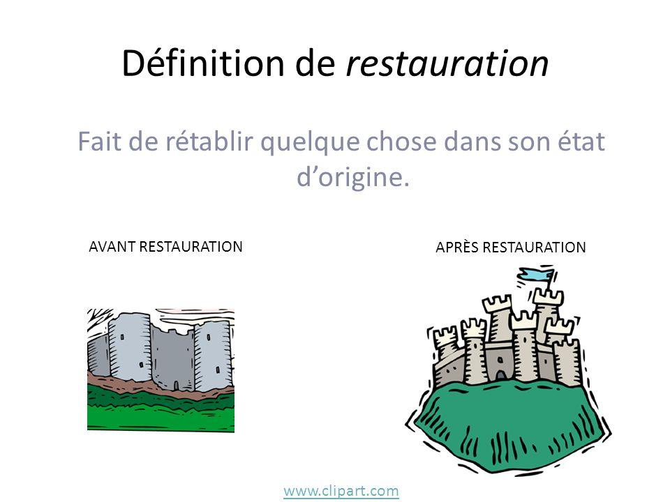 Définition de restauration Fait de rétablir quelque chose dans son état d'origine.