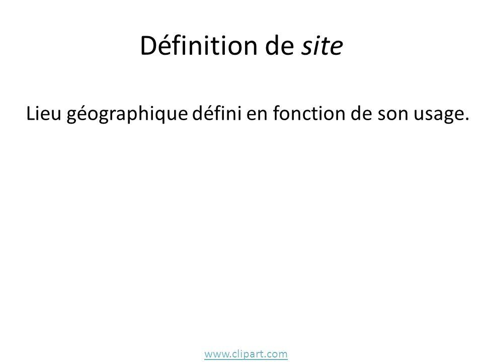 Définition de site Lieu géographique défini en fonction de son usage. www.clipart.com