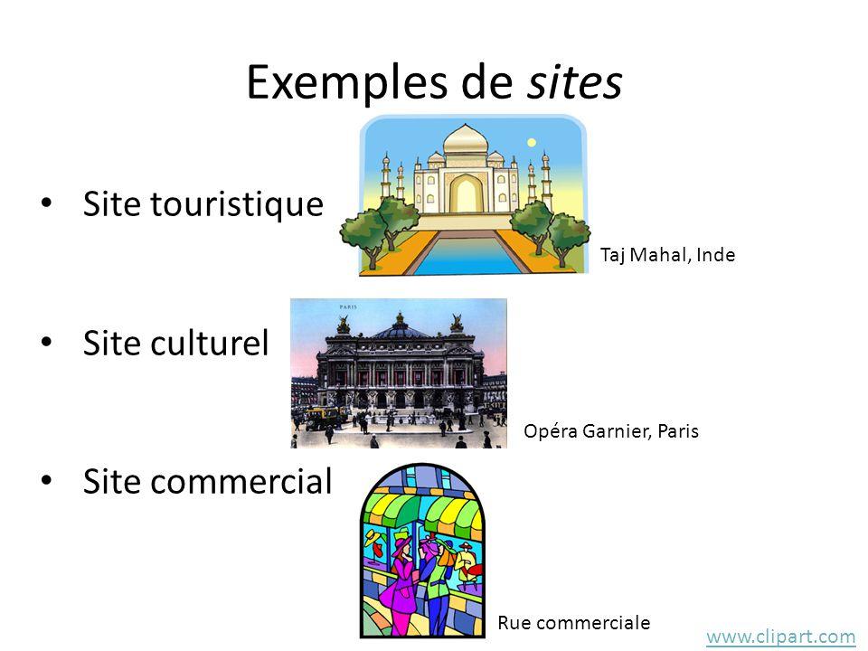 Exemples de sites • Site touristique • Site culturel • Site commercial www.clipart.com Taj Mahal, Inde Opéra Garnier, Paris Rue commerciale