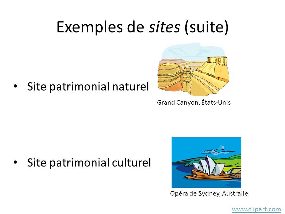 Exemples de sites (suite) • Site patrimonial naturel • Site patrimonial culturel www.clipart.com Grand Canyon, États-Unis Opéra de Sydney, Australie