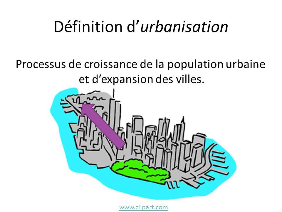Définition d'urbanisation Processus de croissance de la population urbaine et d'expansion des villes.