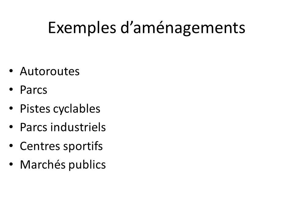 Exemples d'aménagements • Autoroutes • Parcs • Pistes cyclables • Parcs industriels • Centres sportifs • Marchés publics