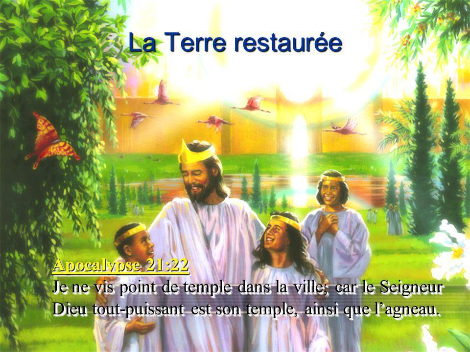 La Terre restaurée Apocalypse 21:22 Je ne vis point de temple dans la ville; car le Seigneur Dieu tout-puissant est son temple, ainsi que l'agneau. Ap