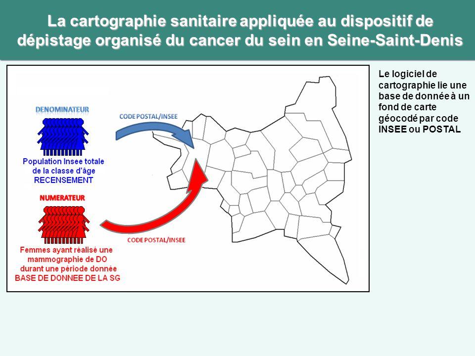 La cartographie sanitaire appliquée au dispositif de dépistage organisé du cancer du sein en Seine-Saint-Denis Le logiciel de cartographie lie une bas