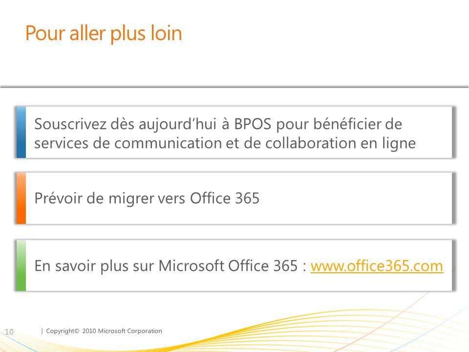 | Copyright© 2010 Microsoft Corporation Pour aller plus loin 10 Souscrivez dès aujourd'hui à BPOS pour bénéficier de services de communication et de collaboration en ligne Prévoir de migrer vers Office 365 En savoir plus sur Microsoft Office 365 : www.office365.comwww.office365.com