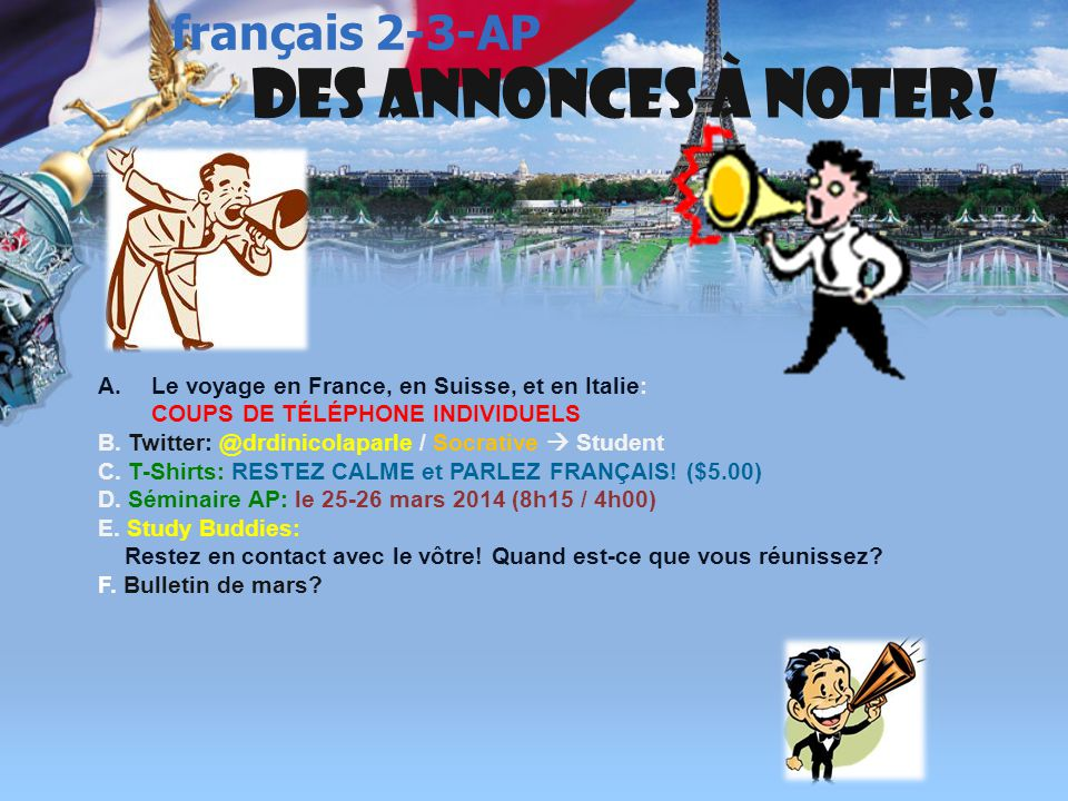 français 3 le 11-12 mars 2014 ActivitésClasseur I. Corrigeons p. 215 Act. 13-14-15 ; p. 218 Act. 18Activités/Devoirs II. Brouillon du Script : Finalis