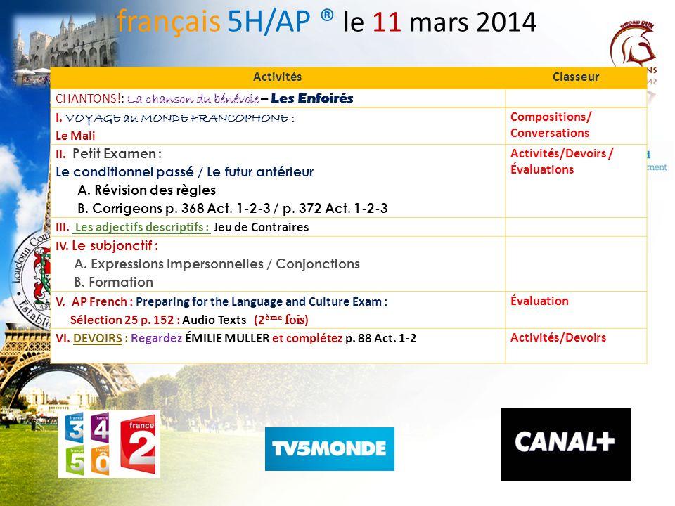 LE VOYAGE AU MONDE FRANCOPHONE français 5H / 6AP Sean Bailey / Kelley Flint Le Mali et le terrorisme Petit Examen Composez un résumé au sujet du terro