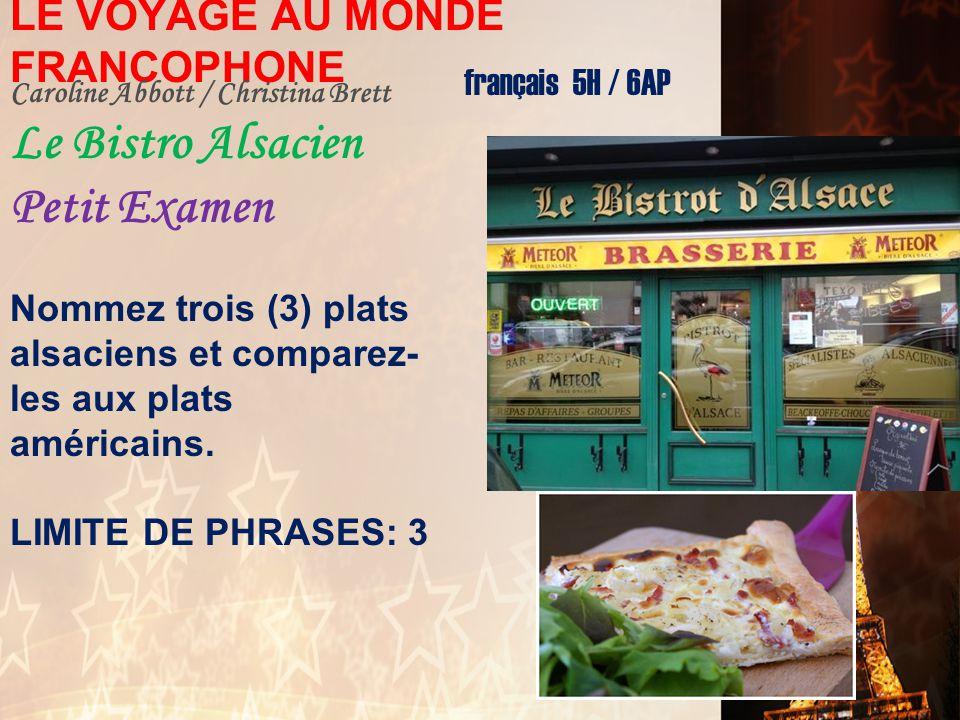 LE VOYAGE AU MONDE FRANCOPHONE français 5H / 6AP Charu Mishra / Camille Isaac L'Égypte: Le Présent/Le Passé Petit Examen 1.Napoléon Bonaparte 2.Gamal
