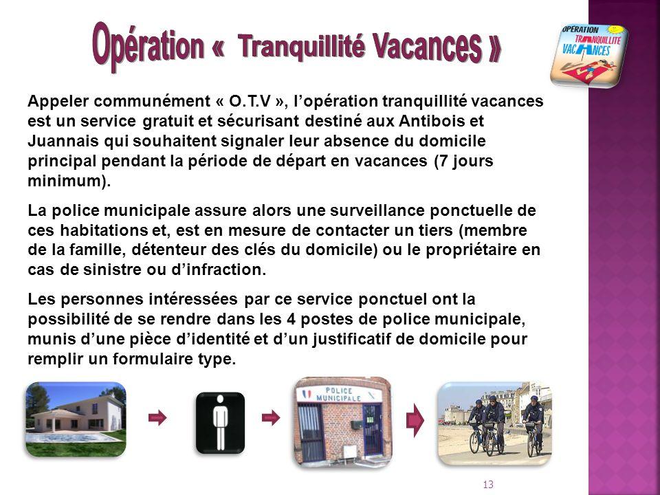 13 Appeler communément « O.T.V », l'opération tranquillité vacances est un service gratuit et sécurisant destiné aux Antibois et Juannais qui souhaite