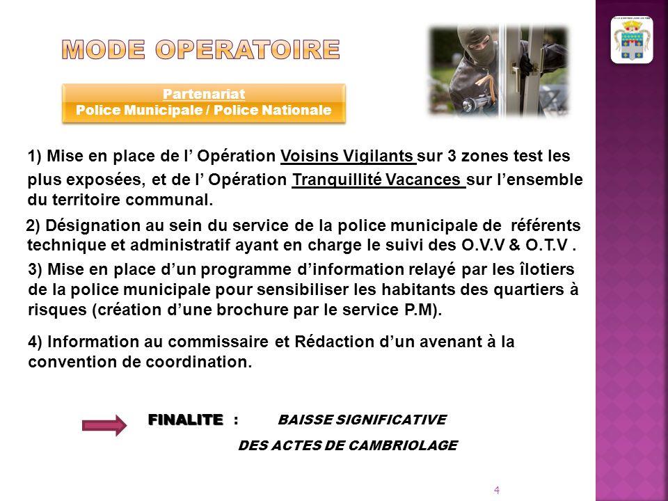 1) Mise en place de l' Opération Voisins Vigilants sur 3 zones test les plus exposées, et de l' Opération Tranquillité Vacances sur l'ensemble du terr