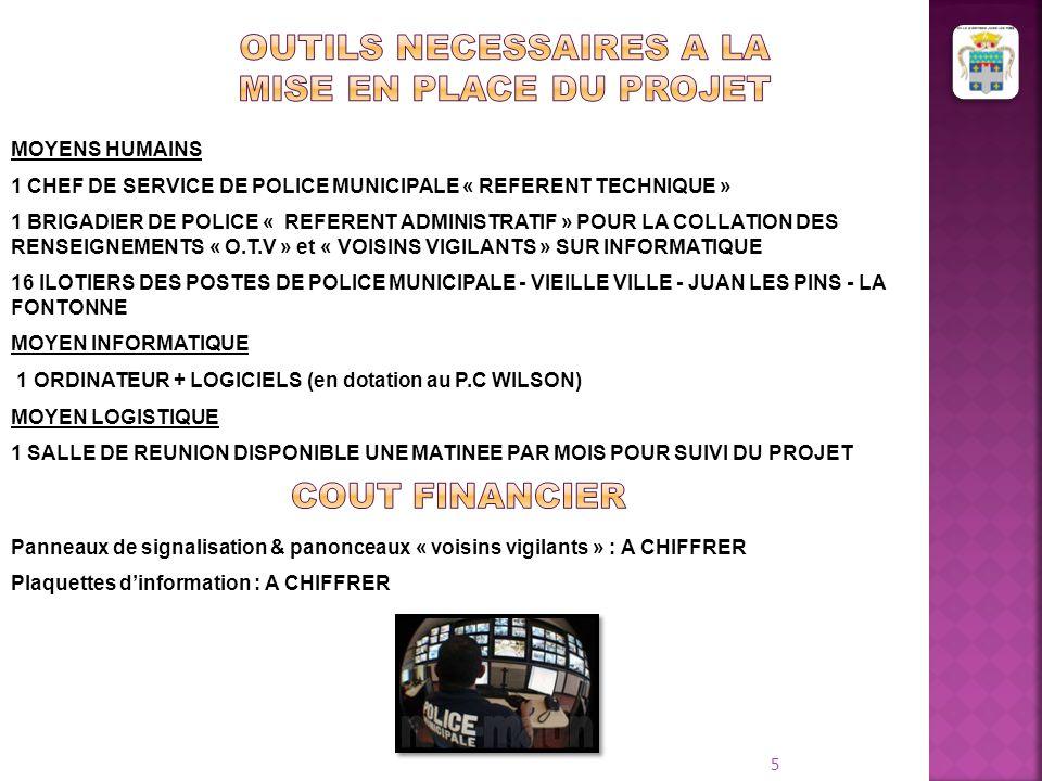 5 MOYENS HUMAINS 1 CHEF DE SERVICE DE POLICE MUNICIPALE « REFERENT TECHNIQUE » 1 BRIGADIER DE POLICE « REFERENT ADMINISTRATIF » POUR LA COLLATION DES