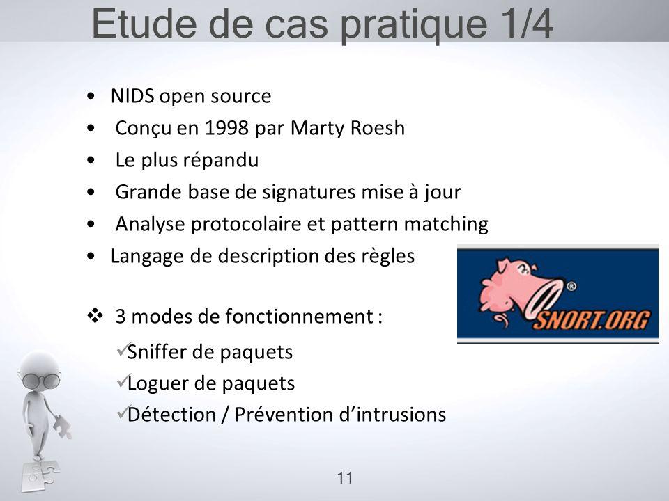 Etude de cas pratique 1/4 •NIDS open source • Conçu en 1998 par Marty Roesh • Le plus répandu • Grande base de signatures mise à jour • Analyse protoc