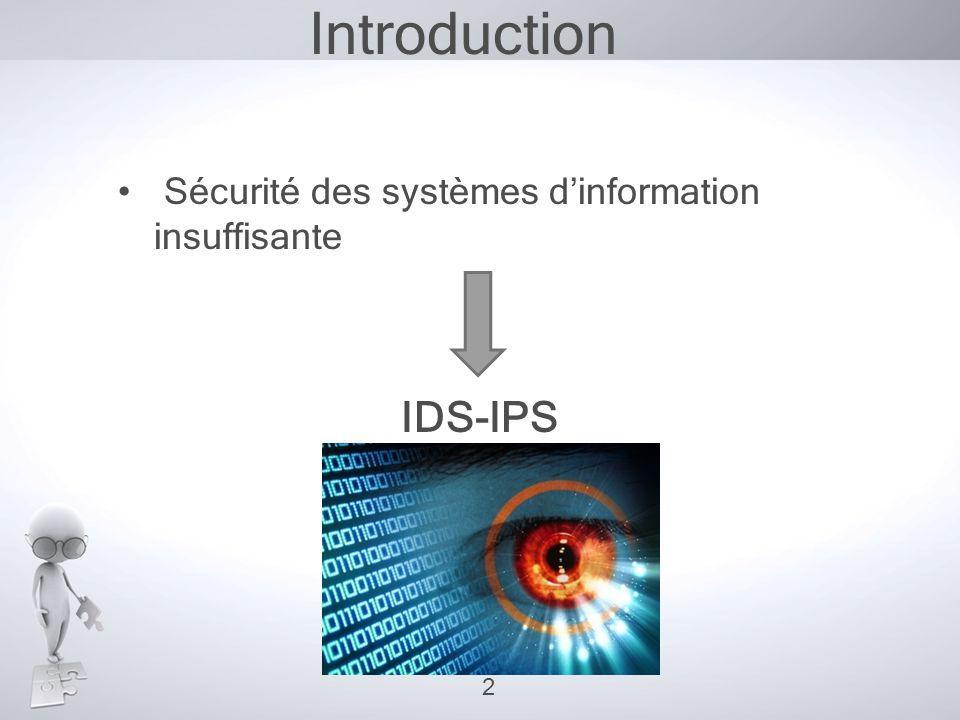Introduction • Sécurité des systèmes d'information insuffisante IDS-IPS 2