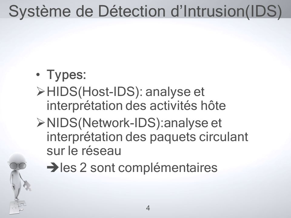 Système de Détection d'Intrusion(IDS) •Types:  HIDS(Host-IDS): analyse et interprétation des activités hôte  NIDS(Network-IDS):analyse et interpréta