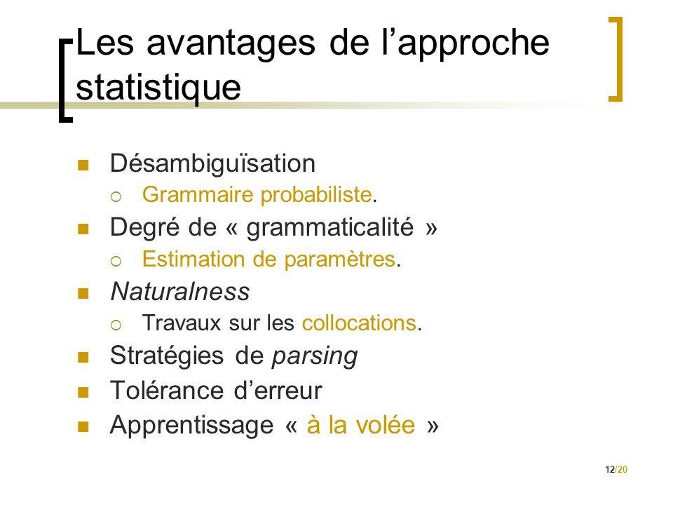 12/20 Les avantages de l'approche statistique  Désambiguïsation  Grammaire probabiliste.  Degré de « grammaticalité »  Estimation de paramètres. 