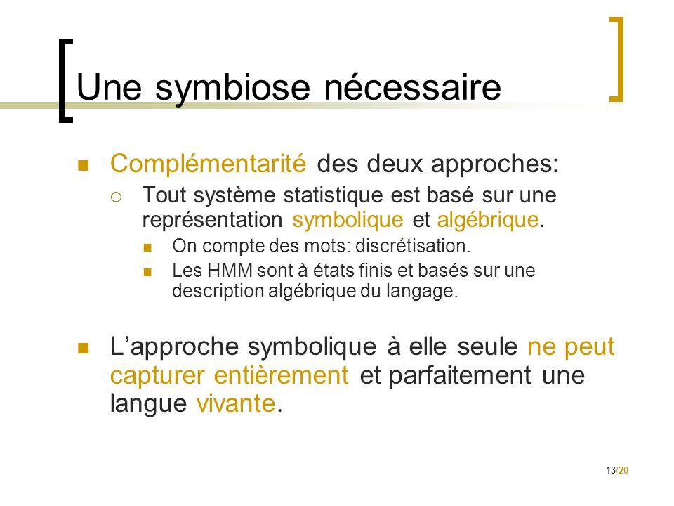 13/20 Une symbiose nécessaire  Complémentarité des deux approches:  Tout système statistique est basé sur une représentation symbolique et algébrique.