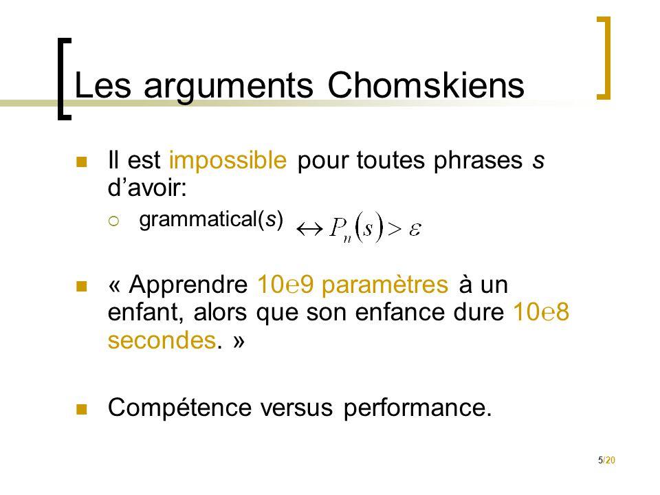 5/20 Les arguments Chomskiens  Il est impossible pour toutes phrases s d'avoir:  grammatical(s)  « Apprendre 10℮9 paramètres à un enfant, alors que son enfance dure 10℮8 secondes.