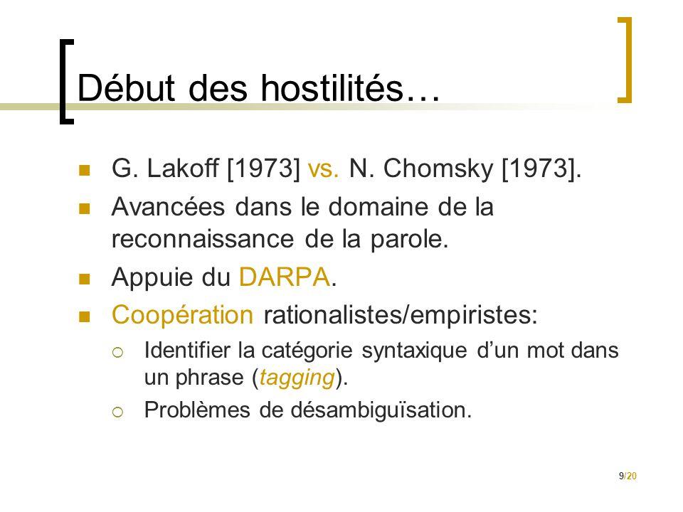 9/20 Début des hostilités…  G. Lakoff [1973] vs. N. Chomsky [1973].  Avancées dans le domaine de la reconnaissance de la parole.  Appuie du DARPA.