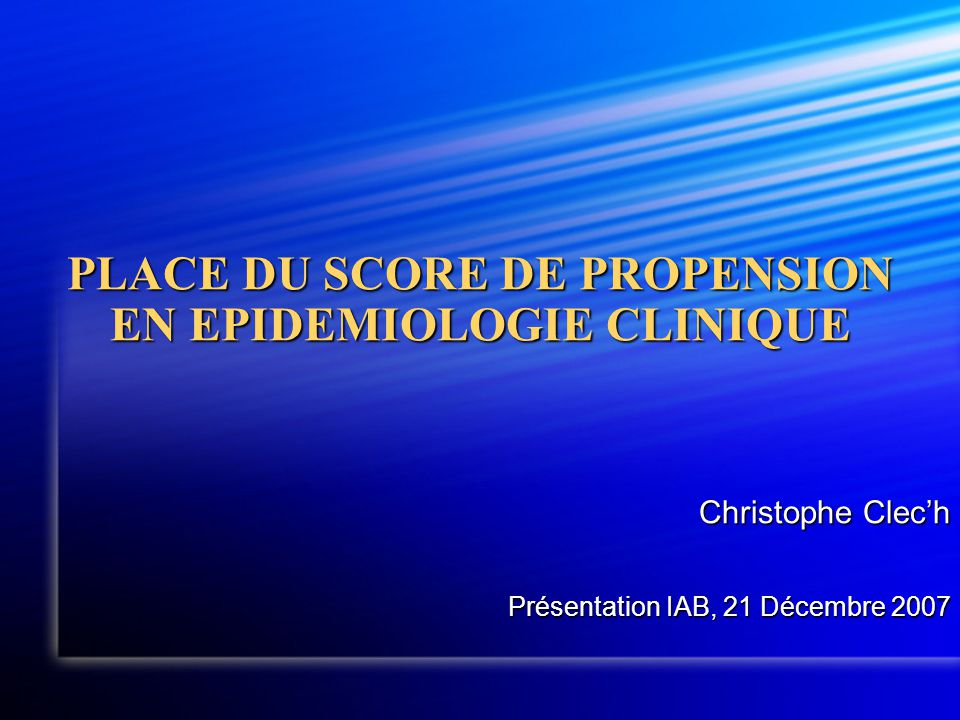 PLAN  Introduction  Théorie du score de propension (SP)  Construction  Utilisation  Conclusion