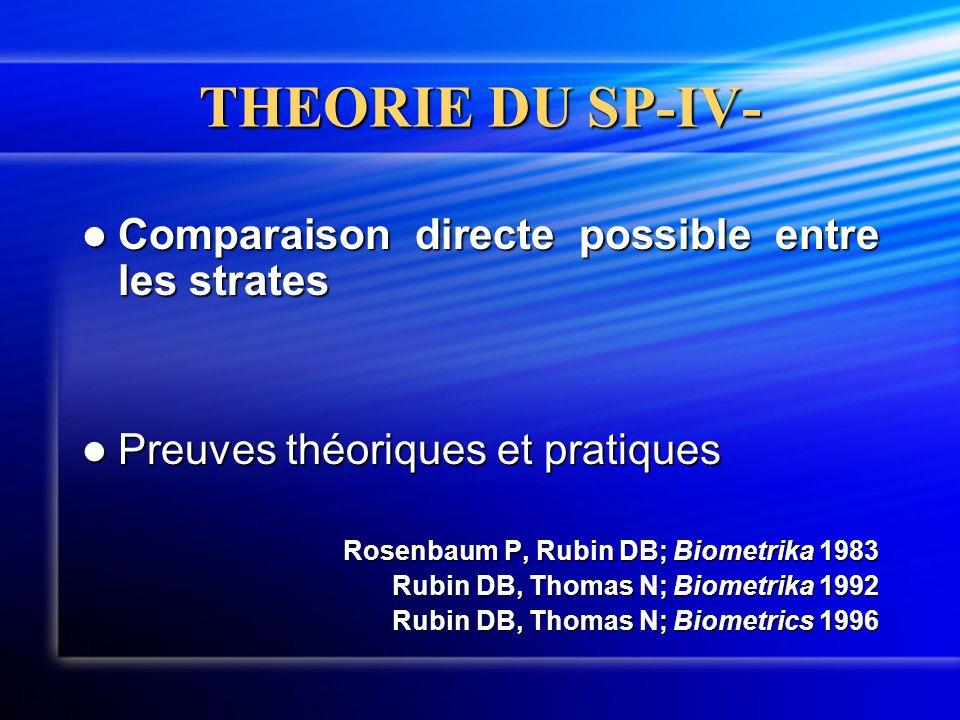 THEORIE DU SP-IV-  Comparaison directe possible entre les strates  Preuves théoriques et pratiques Rosenbaum P, Rubin DB; Biometrika 1983 Rubin DB,