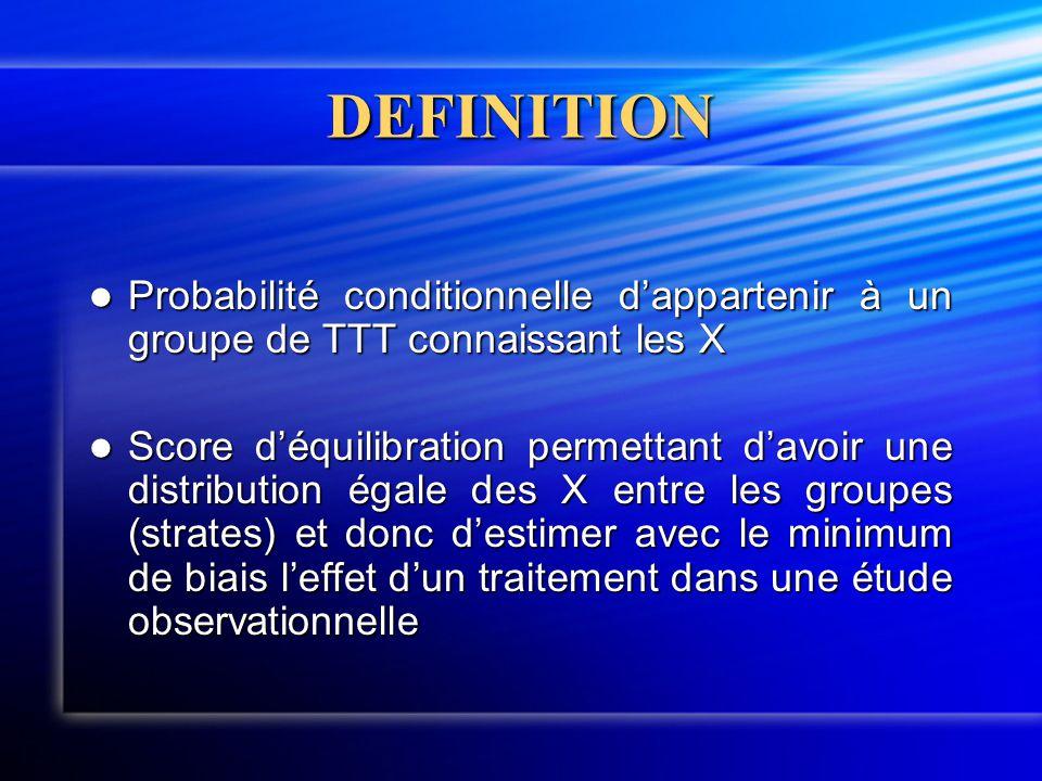 DEFINITION  Probabilité conditionnelle d'appartenir à un groupe de TTT connaissant les X  Score d'équilibration permettant d'avoir une distribution