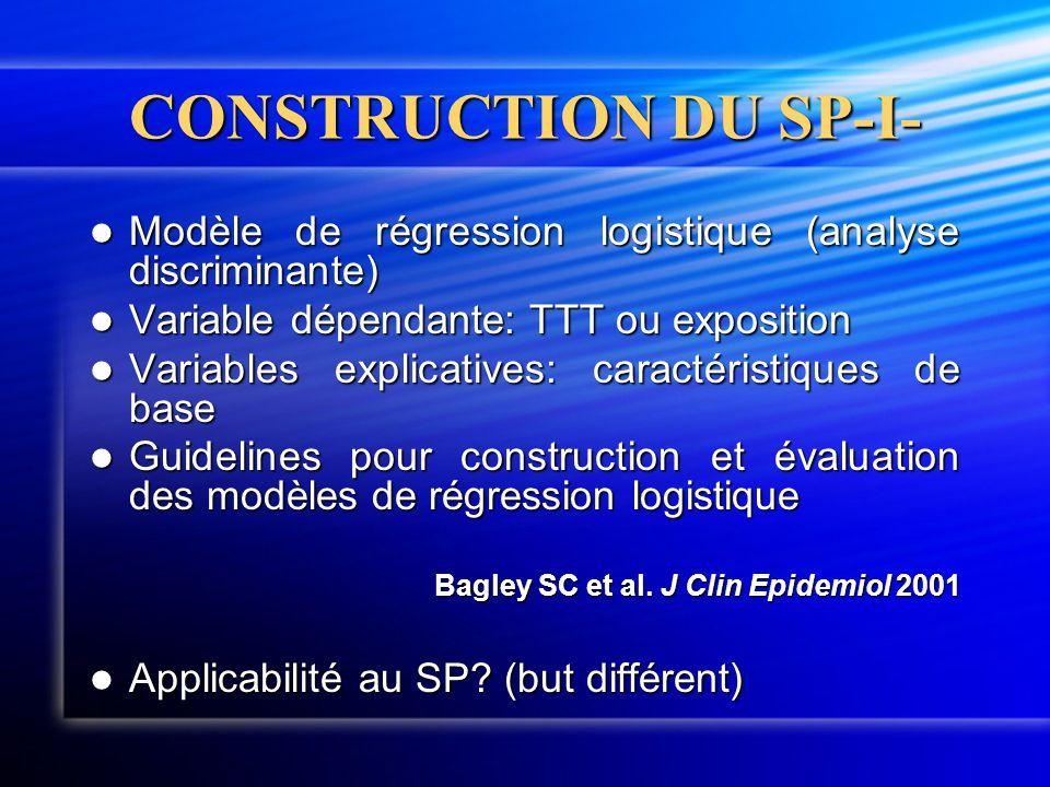 CONSTRUCTION DU SP-I-  Modèle de régression logistique (analyse discriminante)  Variable dépendante: TTT ou exposition  Variables explicatives: car